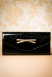 50s Eleanor Bow Patent Envelope Clutch in Black