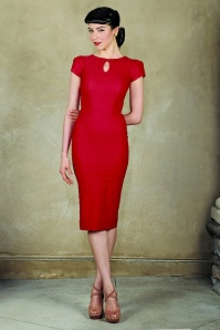 40s Evie Pencil Dress in Red