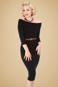 50s Tessa Pencil Dress in Black