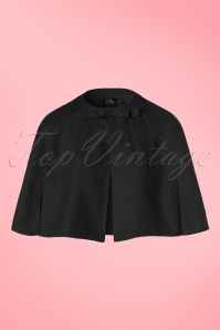 50s Sabrina Bow Cape Shrug in Black
