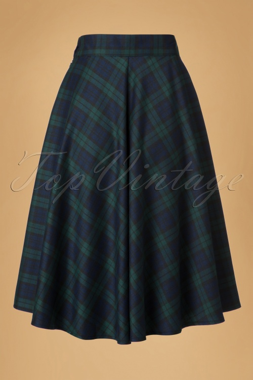 50s apple of my eye tartan skirt in blue and green