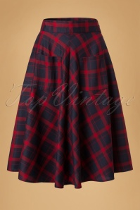 50s Apple Of My Eye Tartan Skirt in Blue and Red