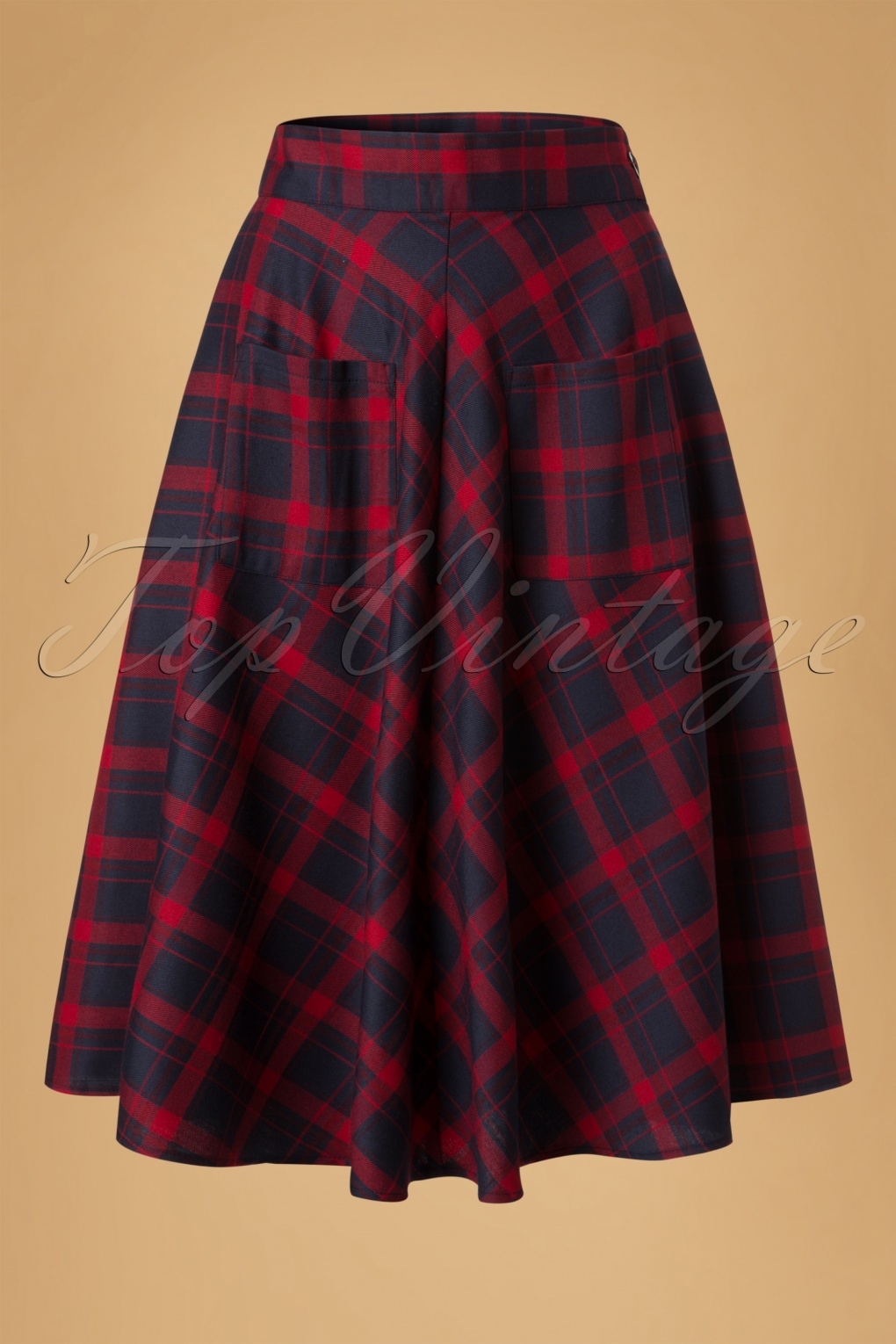 1950s Swing Skirt, Poodle Skirt, Pencil Skirts 50s Apple Of My Eye Tartan Skirt in Blue and Red £33.35 AT vintagedancer.com