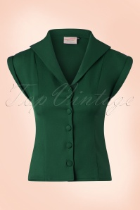 50s Dream Master Short Sleeve Blouse in Dark Green