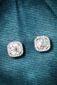 30s Gracie Crystal Earrings in Silver