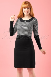 60s Sharon A-Line Dress in Black and Houndstooth
