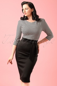 TopVintage Exclusive ~ 50s Rebecca Stripes 3/4 Sleeves Pencil Dress in Black and White