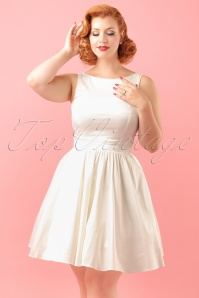 50s Lina Wedding Tea Dress in Ivory Satin