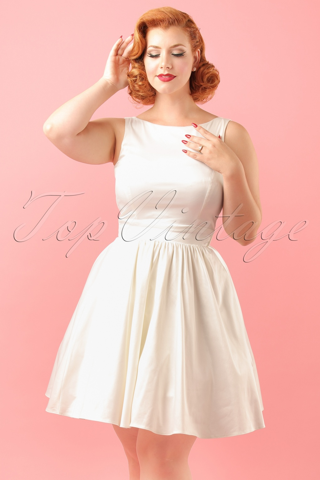 1950s Style Wedding Dresses 50s Lina Wedding Tea Dress in Ivory Satin £140.44 AT vintagedancer.com