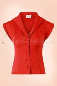 50s Dream Master Short Sleeve Blouse in Tangerine Red