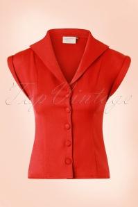 50s Dream Master Short Sleeve Blouse in Tangerine Red