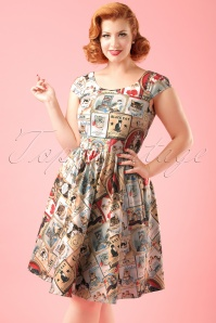 TopVintage Exclusive ~ 50s Citizen Cat Dress in Multi