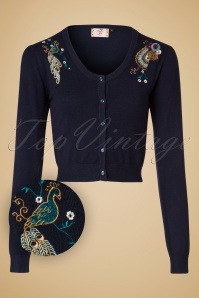 Banned Retro 50s Proud Peacock Cardigan in Night Blue