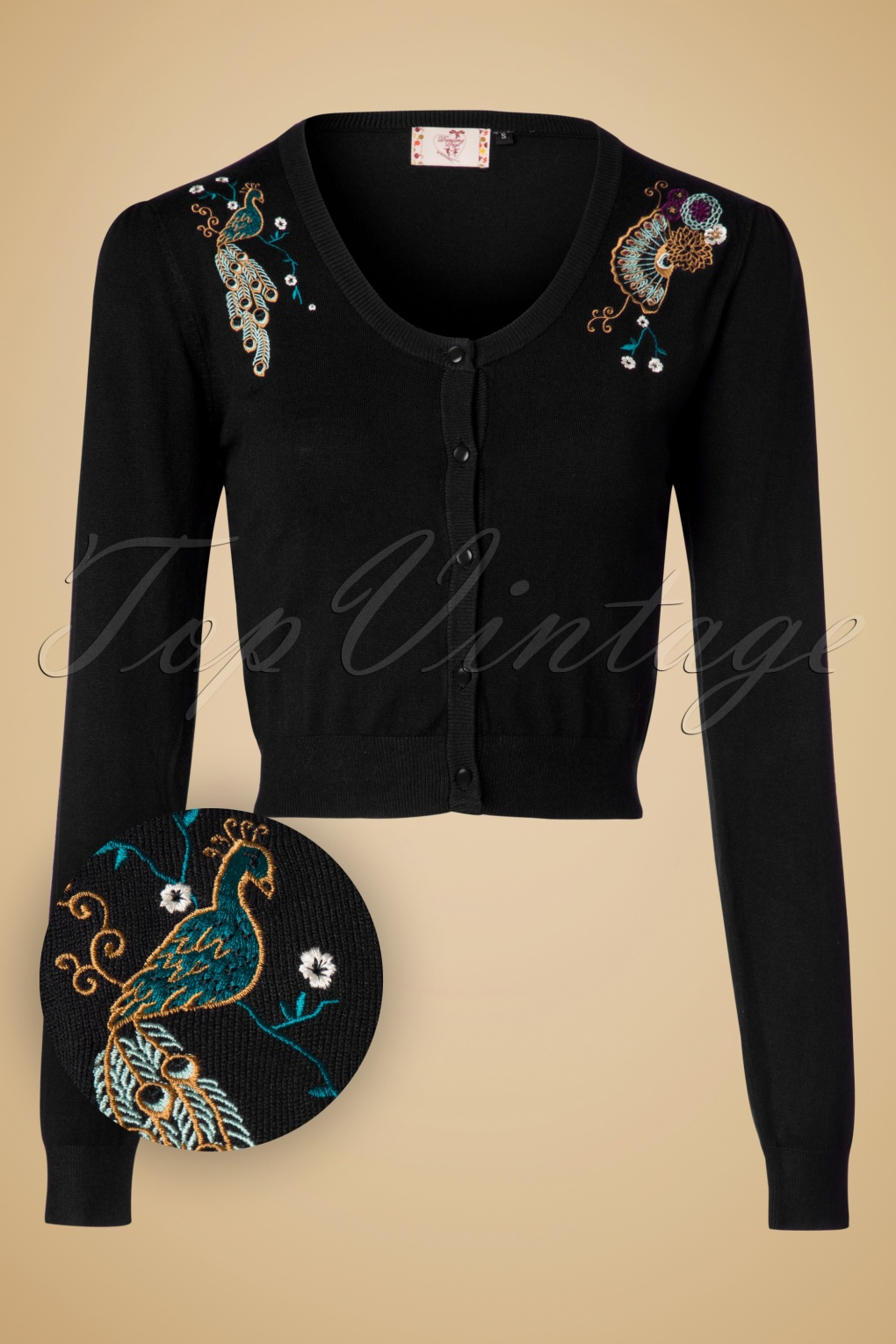 1950s Style Sweaters, Crop Cardigans, Twin Sets 50s Proud Peacock Cardigan in Black £34.27 AT vintagedancer.com