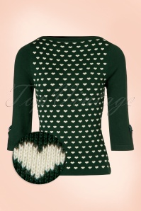 Banned Retro 60s Addicted Charming Heart Sweater in Forest Green
