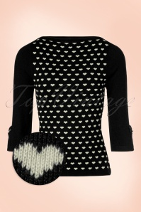 Addicted Charming Heart Sweater Années 1960 en Noir