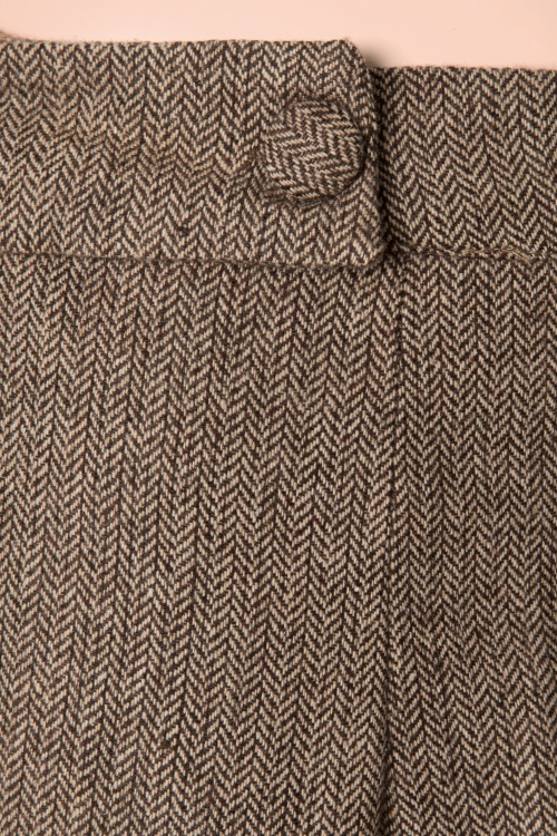 316c5287 40s Lady Luck Herringbone Trousers in Brown