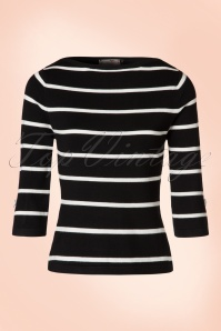 50s Addicted Stripes Please Sweater in Black
