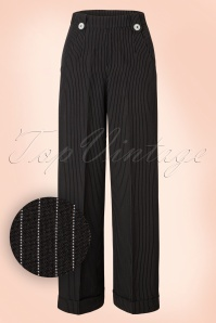 40s Sweet Revenge Pinstripe Trousers in Black