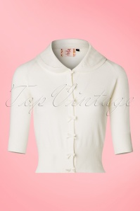 40s April Bow Cardigan in Ivory White