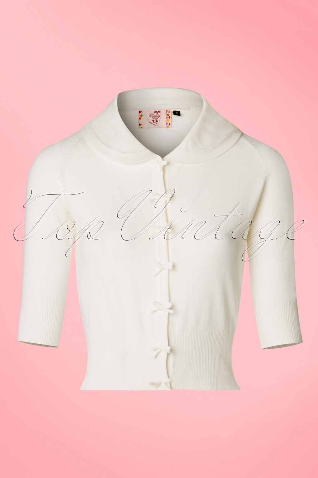 1940s Sweater Styles 40s April Bow Cardigan in Ivory White £35.08 AT vintagedancer.com