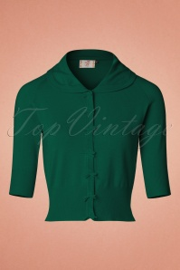 40s April Bow Cardigan in Dark Green