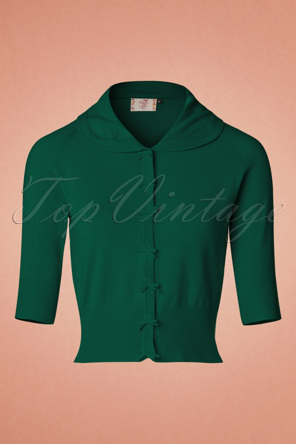 Vintage Sweaters: 1940s, 1950s, 1960s Pictures 40s April Bow Cardigan in Dark Green £34.27 AT vintagedancer.com