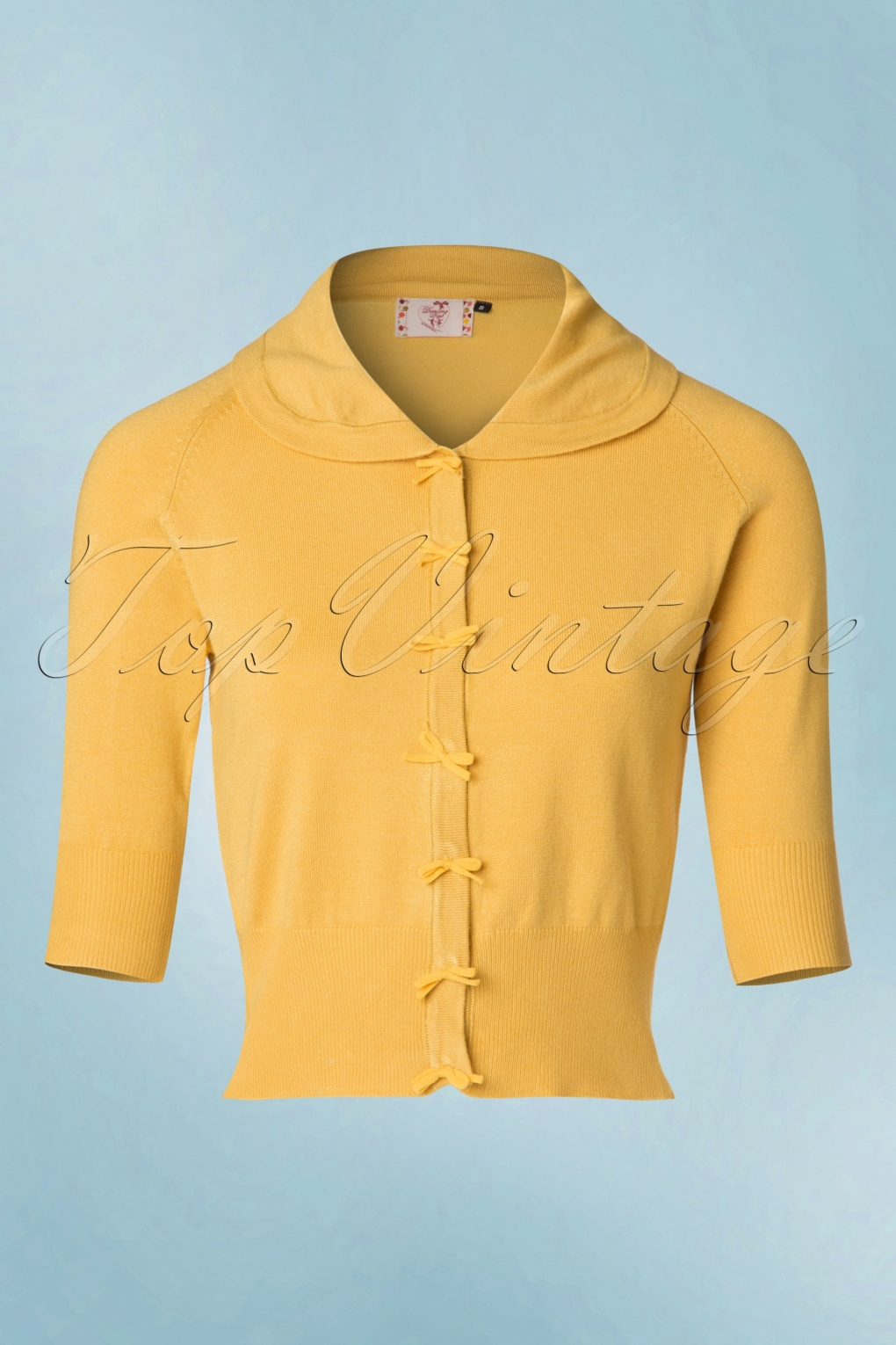 1940s Sweater Styles 40s April Bow Cardigan in Mustard Yellow £35.08 AT vintagedancer.com