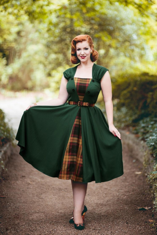 40s Ella Swing Dress In Emerald Green And Tartan
