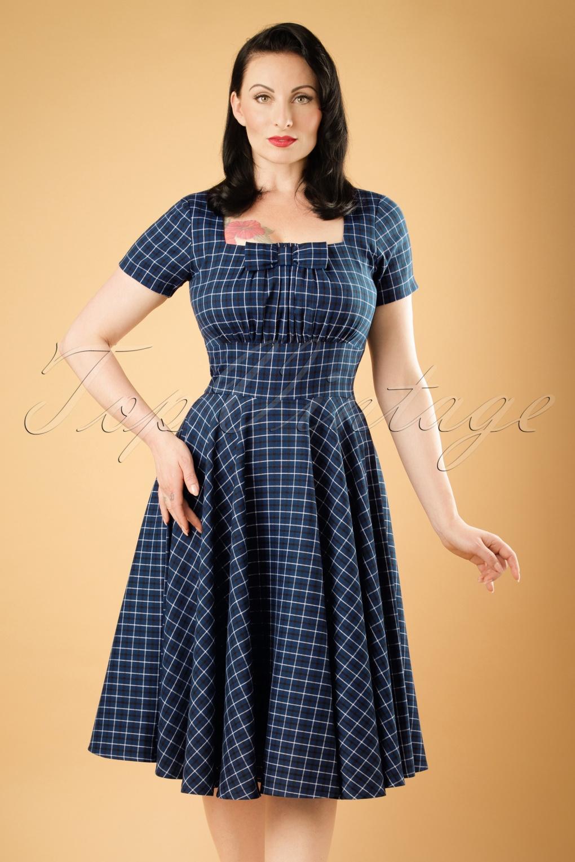 50s debbie swing dress in blue check. Black Bedroom Furniture Sets. Home Design Ideas