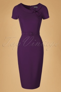Daisy Dapper  Megan Purple Pencil Dress  19507 20160322 0008W