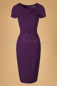 Daisy Dapper  Megan Purple Pencil Dress  19507 20160322 0008W