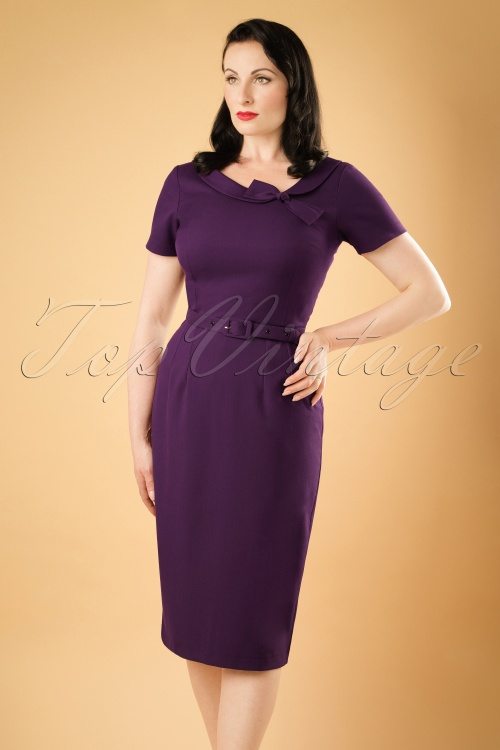 Daisy Dapper Megan Pencil Dress in Purple  19507 20160719 019