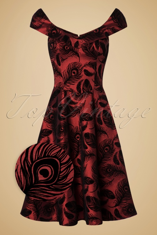 Vixen Cora Feather Dress in Red Black 102 27 20078 20160923 0007wv