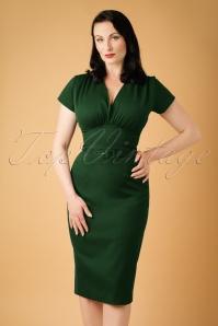 TopVintage Exclusive ~ 50s Holly Pencil Dress in Green
