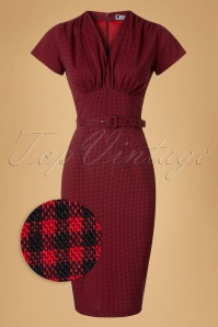 Daisy Dapper Holly Red Checked Pencil Dress 19510 20160719 0008wv
