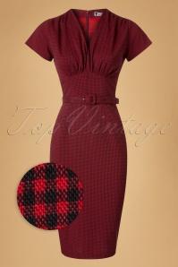 Daisy Dapper Holly Red Checked Pencil Dress 19510 20160719 0008wv