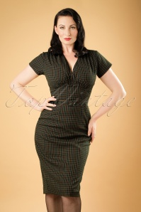 50s Holly Pencil Dress in Green Check