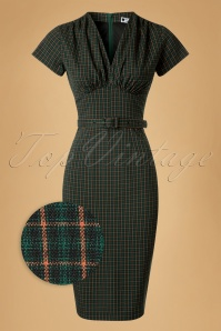 Daisy Dapper Holly Green Checked Pencil Dress 19512 20160719 0006wv