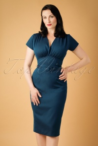 50s Holly Pencil Dress in Midnight Blue