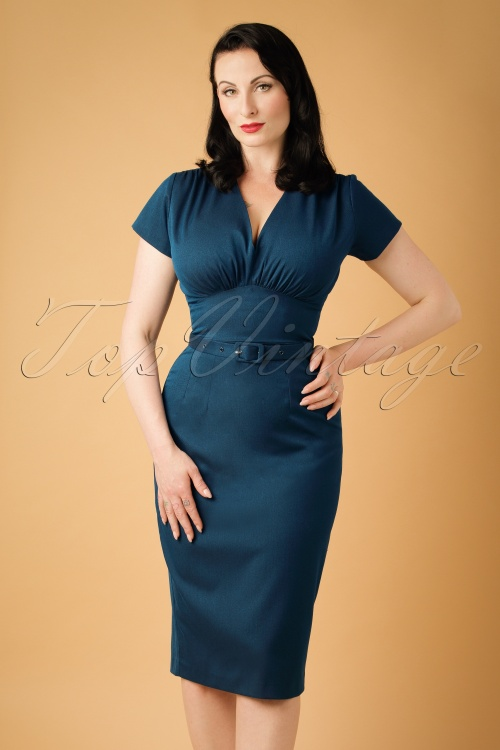 Daisy Dapper Holly Pencil Dress in Navy Blue  19511 20160719 0011w