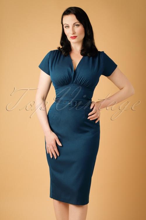 Daisy Dapper Holly Pencil Dress in Navy Blue  19511 20160719 0011w