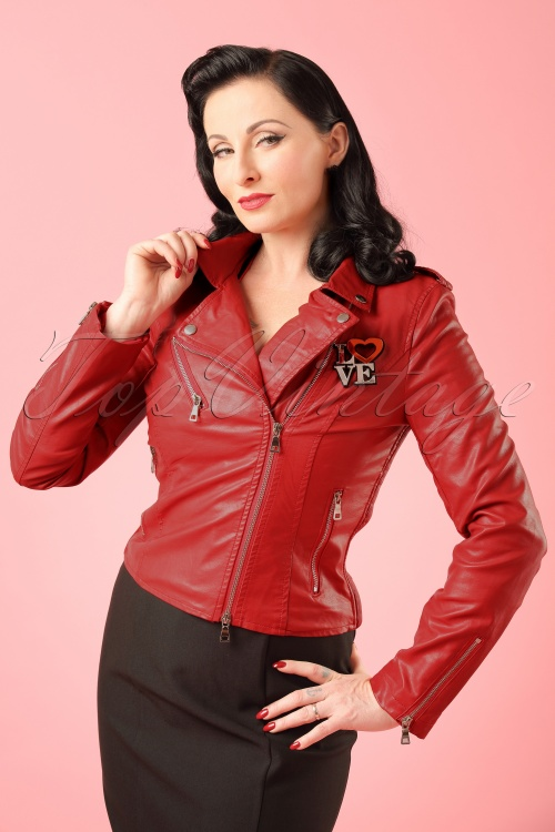 Minueto Pop Jacket in Red Leather Modelfoto2W