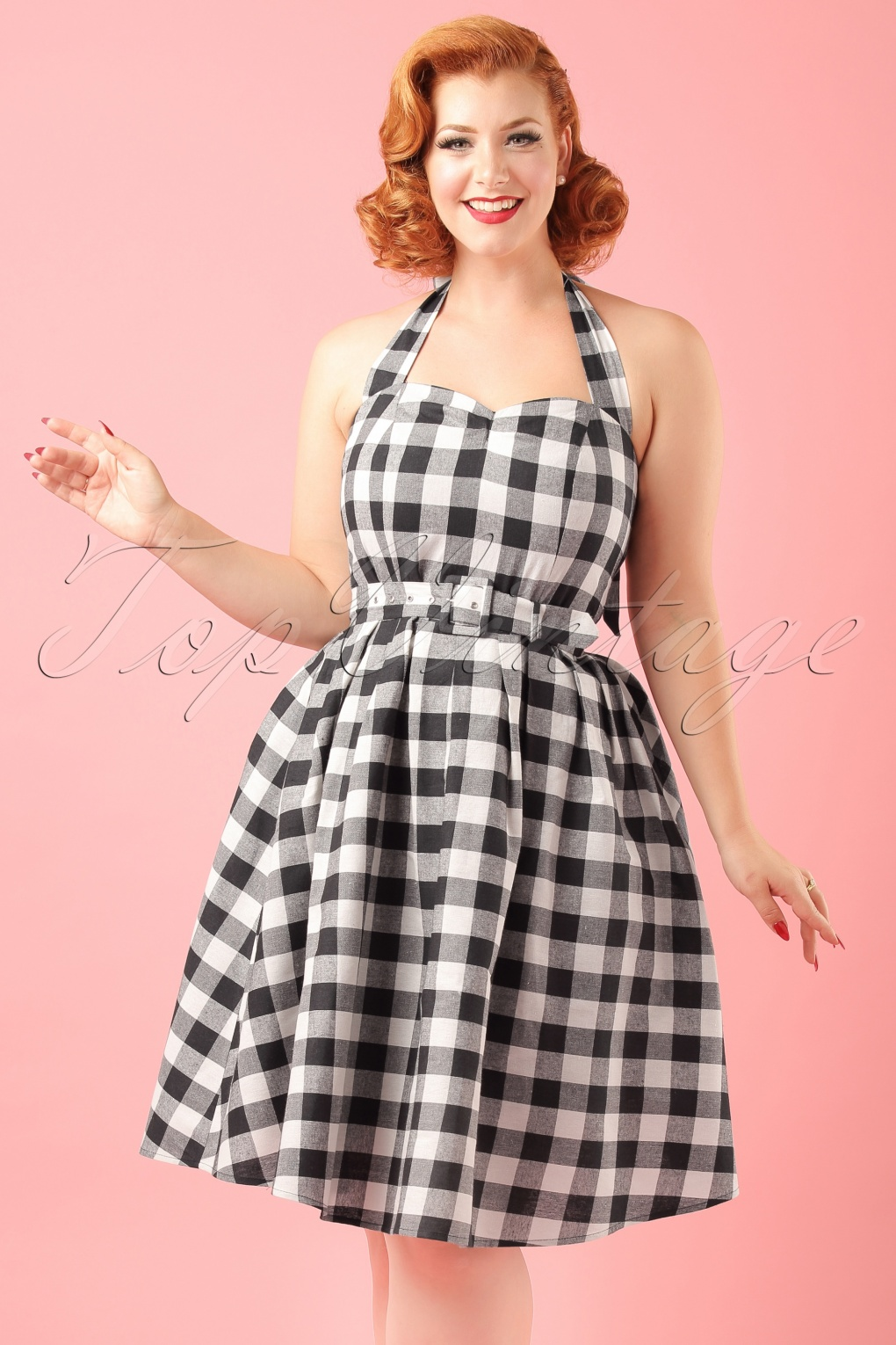 1950s Swing Dresses 50s Sophie Halter Check Swing Dress in Black and White £34.70 AT vintagedancer.com