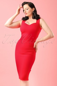 50s Veronica Pencil Dress in Red