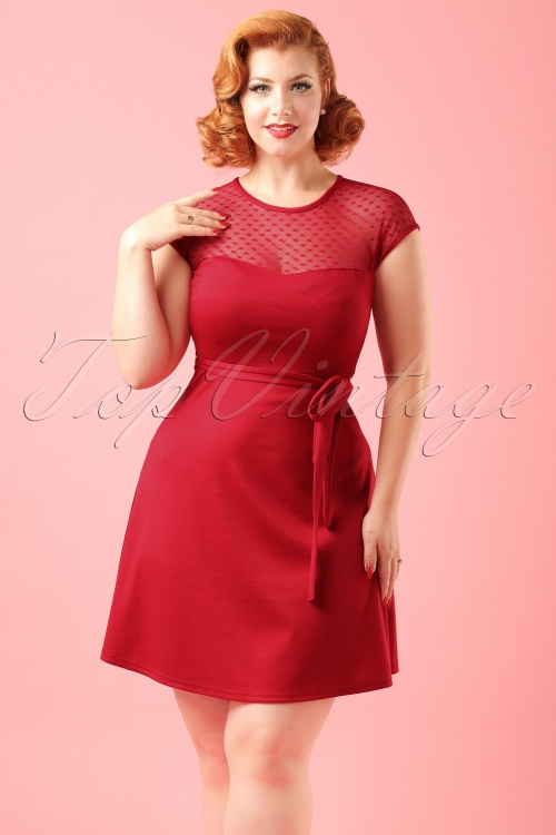 50s Madeline Hearts Only Swing Dress In Red