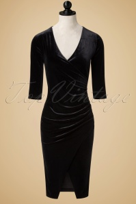 Vintage Chic TopVintage Exclusive Black Velvet Wrap Over Dress 100 10 19697 20160926 0004wdoll
