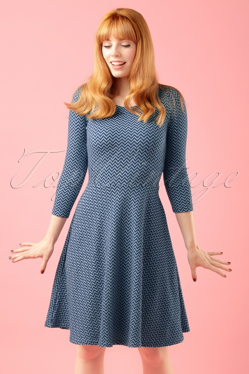 Blutsgeschwister Transatlantic Blue Zigzag Dress modelfotocropW