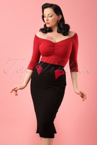 50s Agnes Rose Pencil Skirt in Black and Red