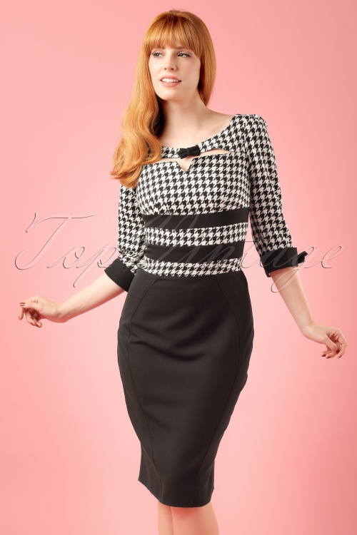 Miss Candyfloss Black and White Houndstooth Pencil Dress ModelfotoCropw